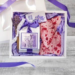 """Весенний чайно-шоколадный нежный подарочный набор """"Мечта"""" с лавандовой ленточкой"""